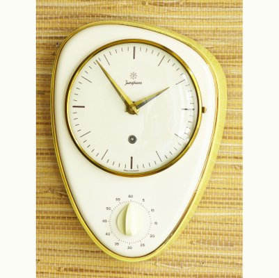 Prime German Ceramic Kitchen Clock With Egg Timer From Junghans 1950S Download Free Architecture Designs Rallybritishbridgeorg