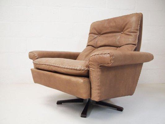 Cool Vintage Danish Genuine Leather Swivel Chair By Georg Thams 1970S Spiritservingveterans Wood Chair Design Ideas Spiritservingveteransorg