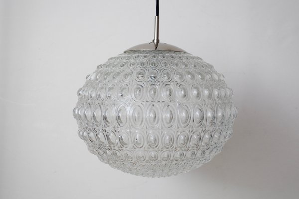 Chrome Plating and Pressed Glass UFO Ceiling Lamp, 1960s