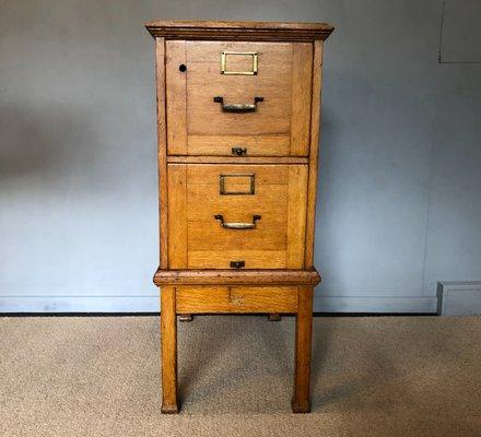 Vintage Industrial Oak Filing Cabinet, 1920s