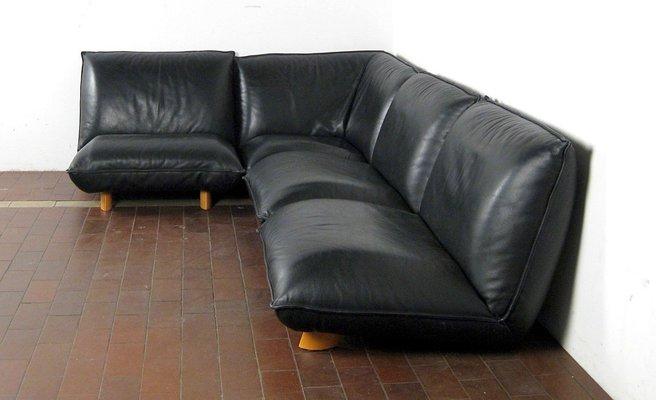 Vintage Aniline Leather Modular Sofa, 1980s
