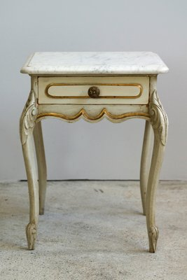 Antique Baroque French Wood And Marble Side Table For Sale At Pamono