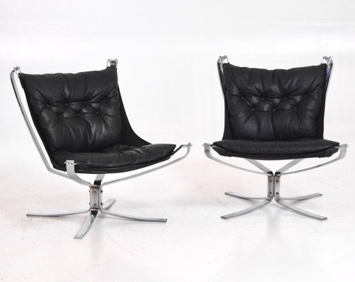 Black Leather And Steel Falcon Chairs