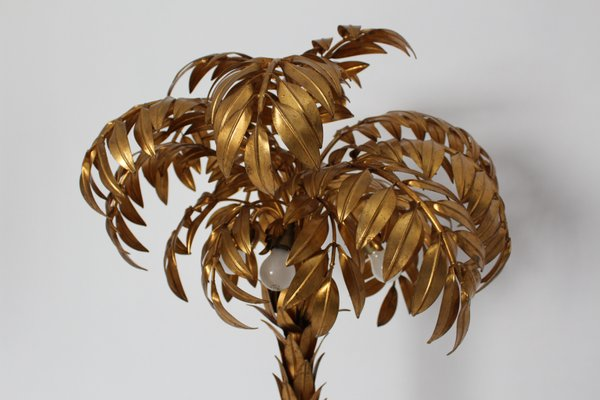 Gold Plated Palm Tree Floor Lamp By Hans Kogl 1970s