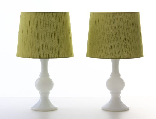 Scandinavian Modern Table Lamps With Opal Glass Base By Uno Osten Kristiansson For Luxus 1960s Set Of 2