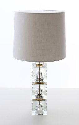 Scandinavian Modern Table Lamps With 3 Part Glass Base By Carl Fagerhult For Orrefors 1960s Set Of 2