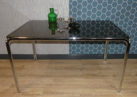 Chrome Plated Metal Tinted Gl E Age Dining Table 1970s