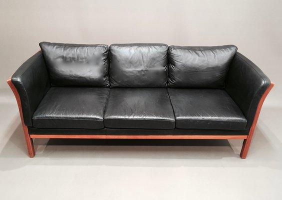 Scandinavian Modern Cow Leather Sofa, 1970s
