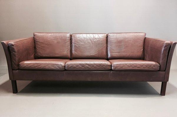 Scandinavian Modern Leather Sofa, 1970s