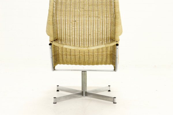 Chrome Plating And Rattan Swivel Chair