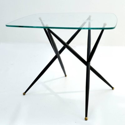 Italian Metal And Etched Gl Coffee Table 1950s