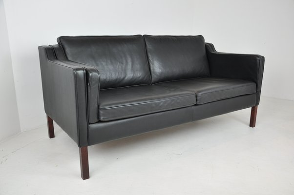 Danish Black Leather Two-Seater Sofa by Stouby, 1960s