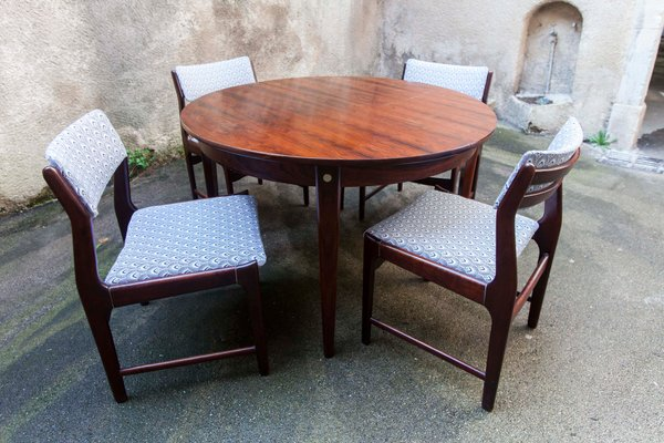 Scandinavian Modern Rosewood Rio Dining Table Chairs Set 1950s