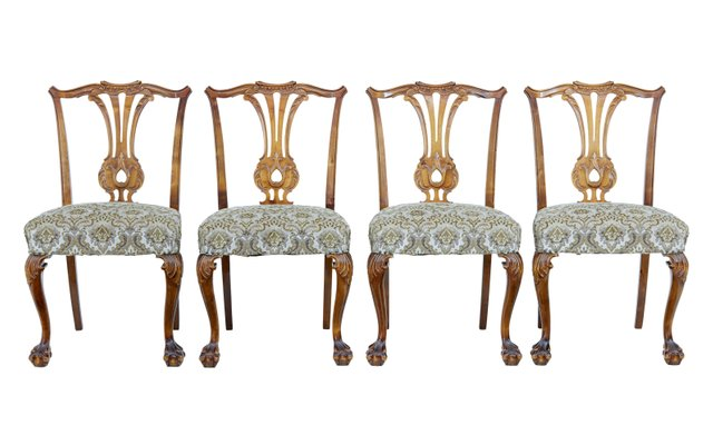 Magnificent Mid Century Chippendale Style Dining Chairs Set Of 4 Ibusinesslaw Wood Chair Design Ideas Ibusinesslaworg