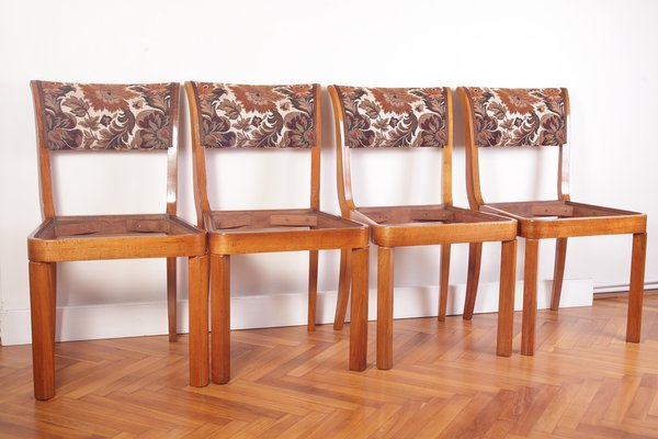 Admirable Art Deco Style Veneer And Walnut Dining Chairs 1920S Set Of 4 Machost Co Dining Chair Design Ideas Machostcouk