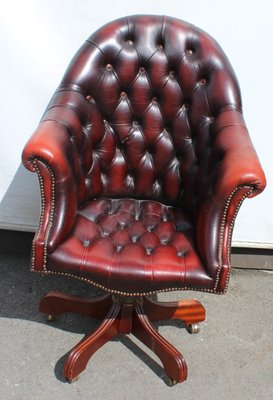 Vintage Ox Blood Red Leather Bucket Armchair 1960s
