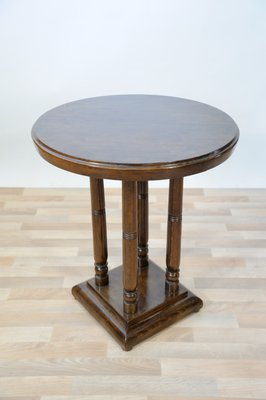 Round Art Deco French Beech Side Table 1920s