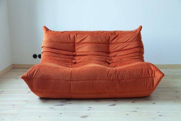 Vintage Orange Velvet Togo Living Room Set By Michel Ducaroy For
