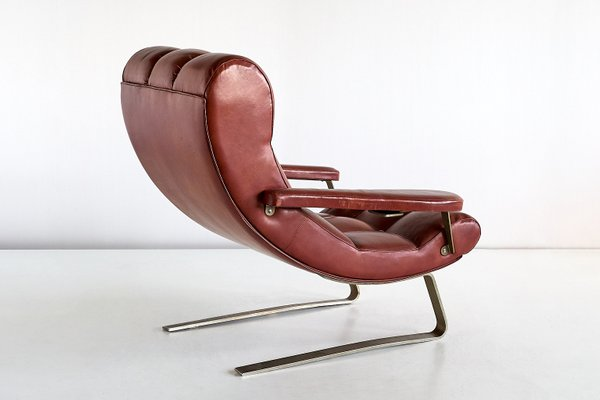 Sensational Vintage Italian Brown Leatherette Lounge Chair By Guido Bonzani 1970S Gmtry Best Dining Table And Chair Ideas Images Gmtryco