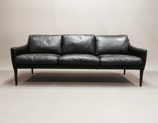 Scandinavian Rosewood & Black Leather 3-Seater Sofa, 1950s