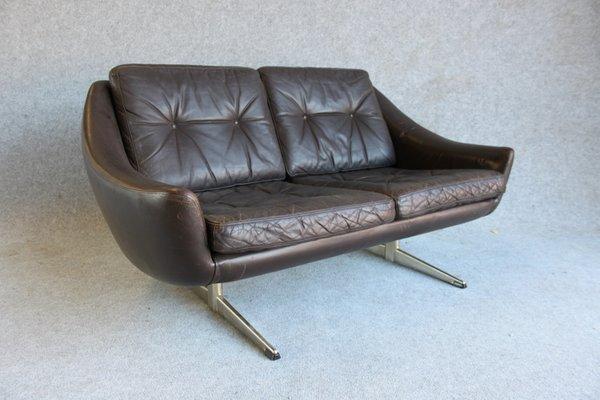 Danish Modern Leather 2 Seater Sofa