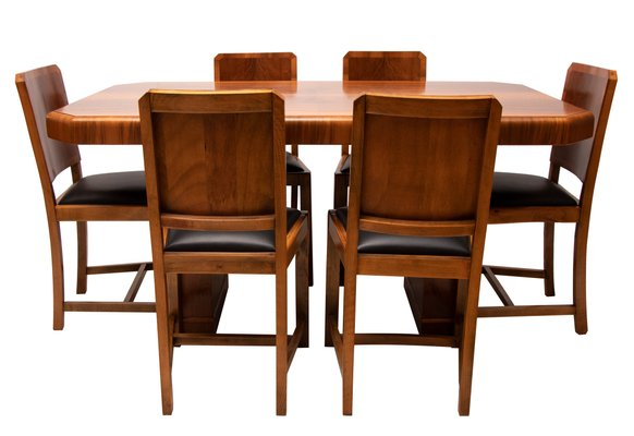Art Deco Walnut Set With Dining Table And 6 Chairs 1930s