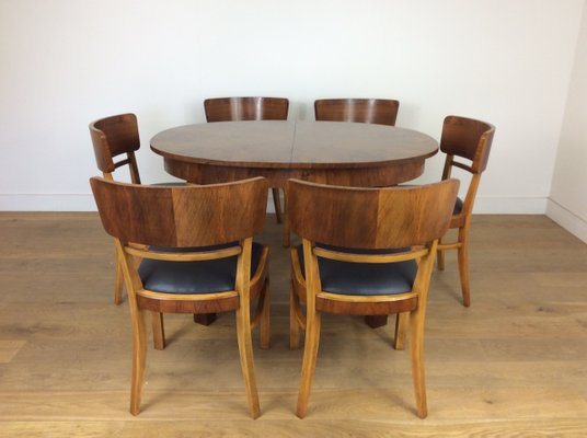 Groovy Art Deco Extendable Dining Table 6 Chairs By Jindrich Halabala For Up Zavody 1930S Beutiful Home Inspiration Xortanetmahrainfo