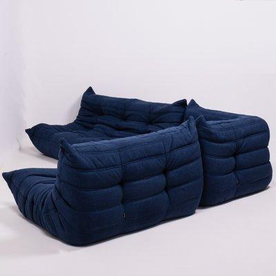 Outstanding Blue Modular 3 Piece Togo Sofa Set By Michel Ducaroy For Ligne Roset 1980S Unemploymentrelief Wooden Chair Designs For Living Room Unemploymentrelieforg