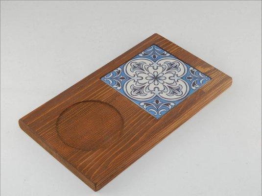 Vintage Turkish Ceramic Tile And Pine