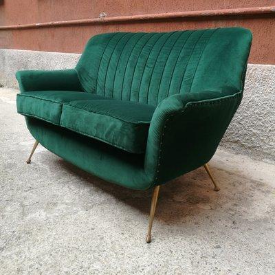 Divano Velluto Verde.Divano In Velluto Verde E Ottone Anni 50