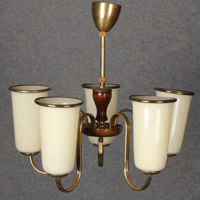 Art Déco Kronleuchter mit 5 Tulip Lampenschirmen, 1920er