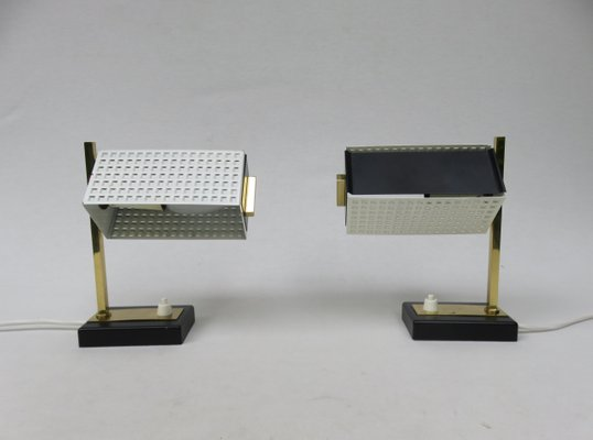 Small Mid Century Brass Black White Bedside Table Lamps 1950s Set Of 2