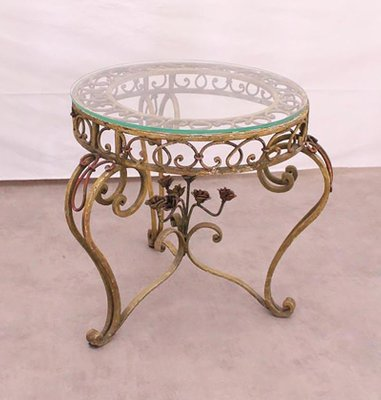 Glass Wrought Iron Round Coffee Table 1920s