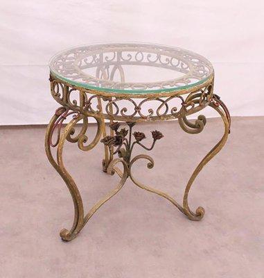Tavolino da caffè in vetro e ferro battuto, anni \'20