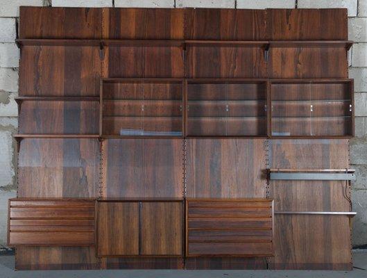 Large Rosewood Modular Wall Shelving System by Poul Cadovius for Cado, 1950s