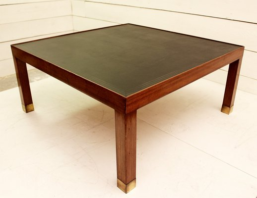 Vintage Wood And Leather Coffee Table