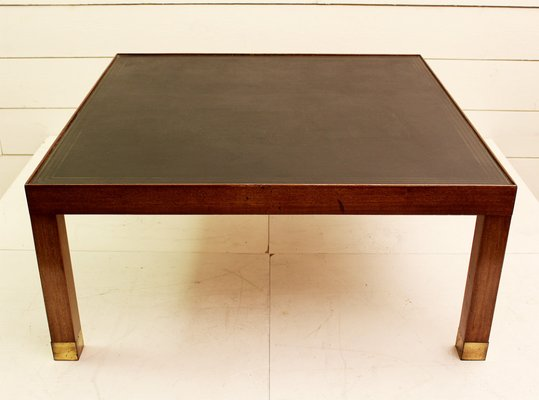 Merveilleux Vintage Wood And Leather Coffee Table
