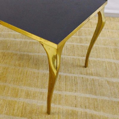 Vintage Brass Black Glass Coffee Table 1970s For Sale At Pamono