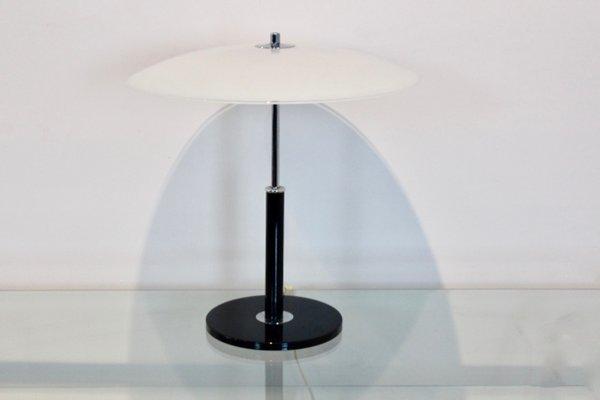 Lampe De Bureau En Verre Laiteux Et Acier De Ikea 1970s