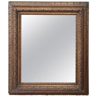 Specchio da parete grande antico in legno intagliato, fine XIX secolo