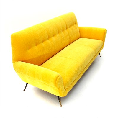 Surprising Mid Century Italian Yellow Velvet 3 Seater Sofa 1950S Onthecornerstone Fun Painted Chair Ideas Images Onthecornerstoneorg