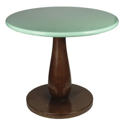 Italian Round Wood Coffee Table 1960s