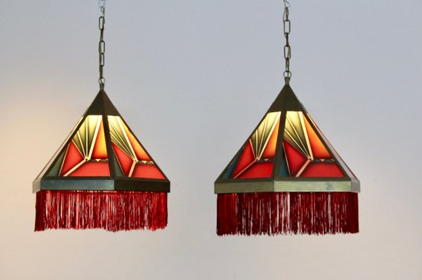 Amsterdam School Stained Glass Pendant Lights 1930s Set Of 2