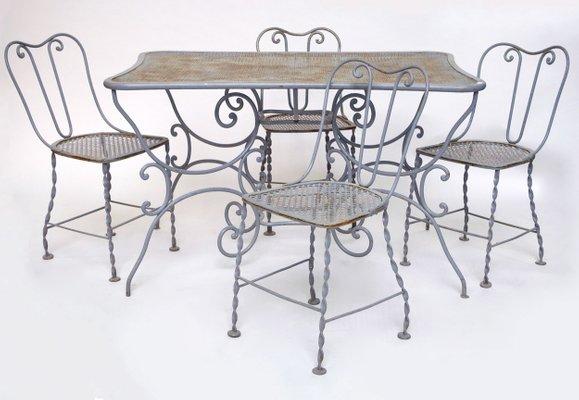 Produzione Tavoli Da Giardino.Tavoli Da Giardino E Sedie In Ferro Battuto Grigio Chiaro Xix