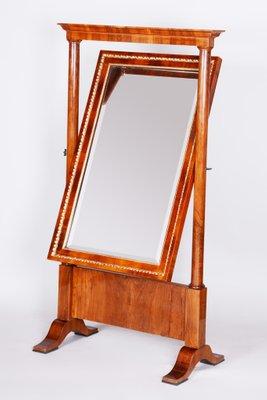 Antique Austrian Walnut Biedermeier Full Length Tilting Mirror