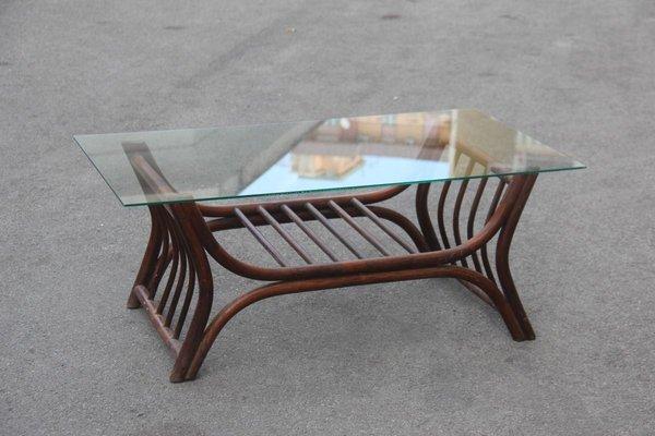 Italian Brown Bamboo Glass Rectangular Coffee Table 1960s For Sale At Pamono