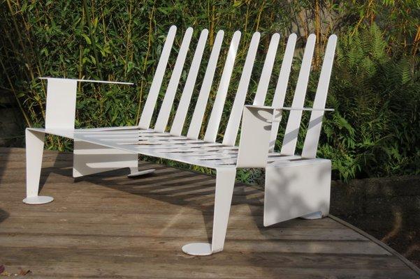 Stupendous Modernist White Metal Garden Bench 1980S Ibusinesslaw Wood Chair Design Ideas Ibusinesslaworg