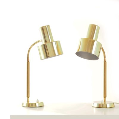 Vintage Swedish Brass Table Lamps From Boréns, 1960s, Set Of 2