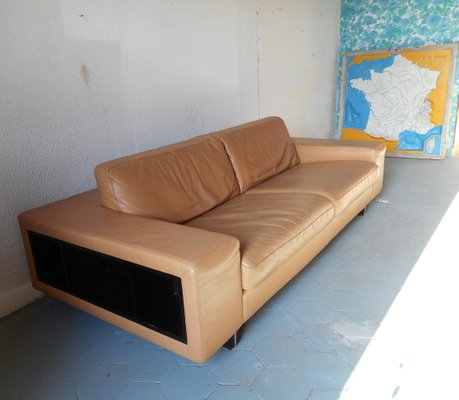 Vintage Brown Leather Sofa from Roche Bobois, 1980s