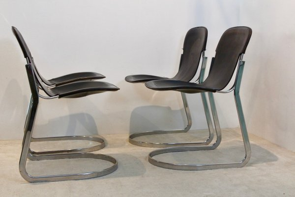 Marvelous Black Saddle Leather C2 Dining Chairs By Willy Rizzo For Cidue 1970S Set Of 4 Ibusinesslaw Wood Chair Design Ideas Ibusinesslaworg